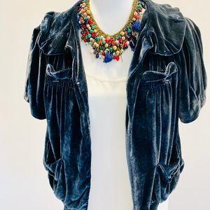 Marc Jacobs blue velvet short sleeve jacket